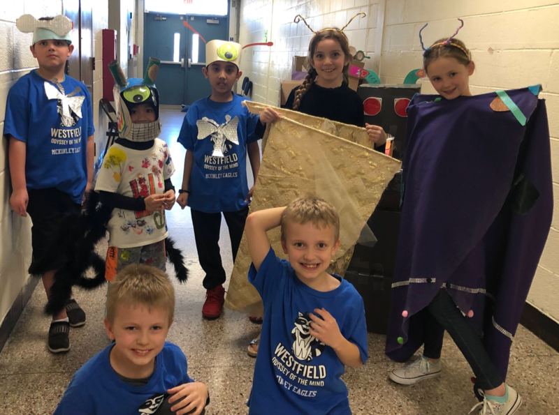 Photo of McKinley student team competing in regional Odyssey of the Mind tournament on March 7.