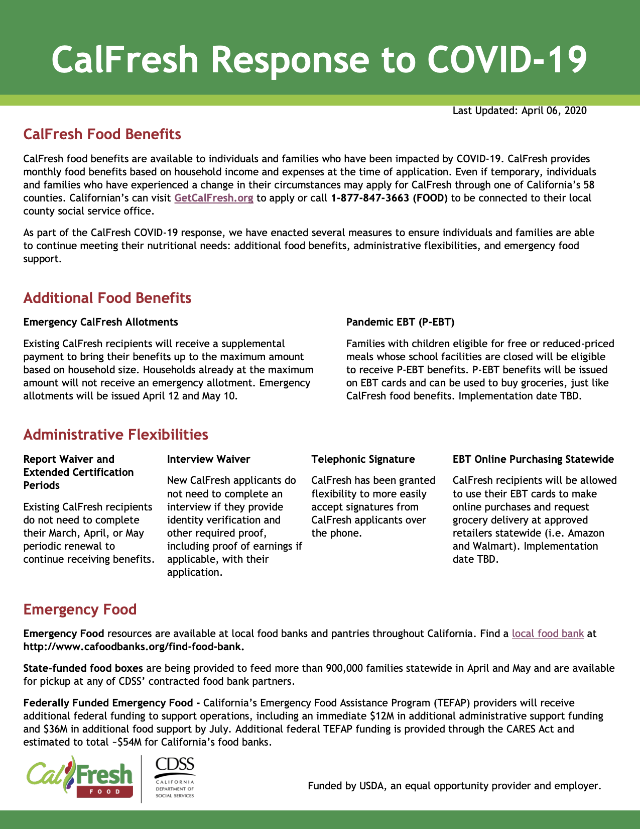 List of CalFresh Resources available in response to COVID 19