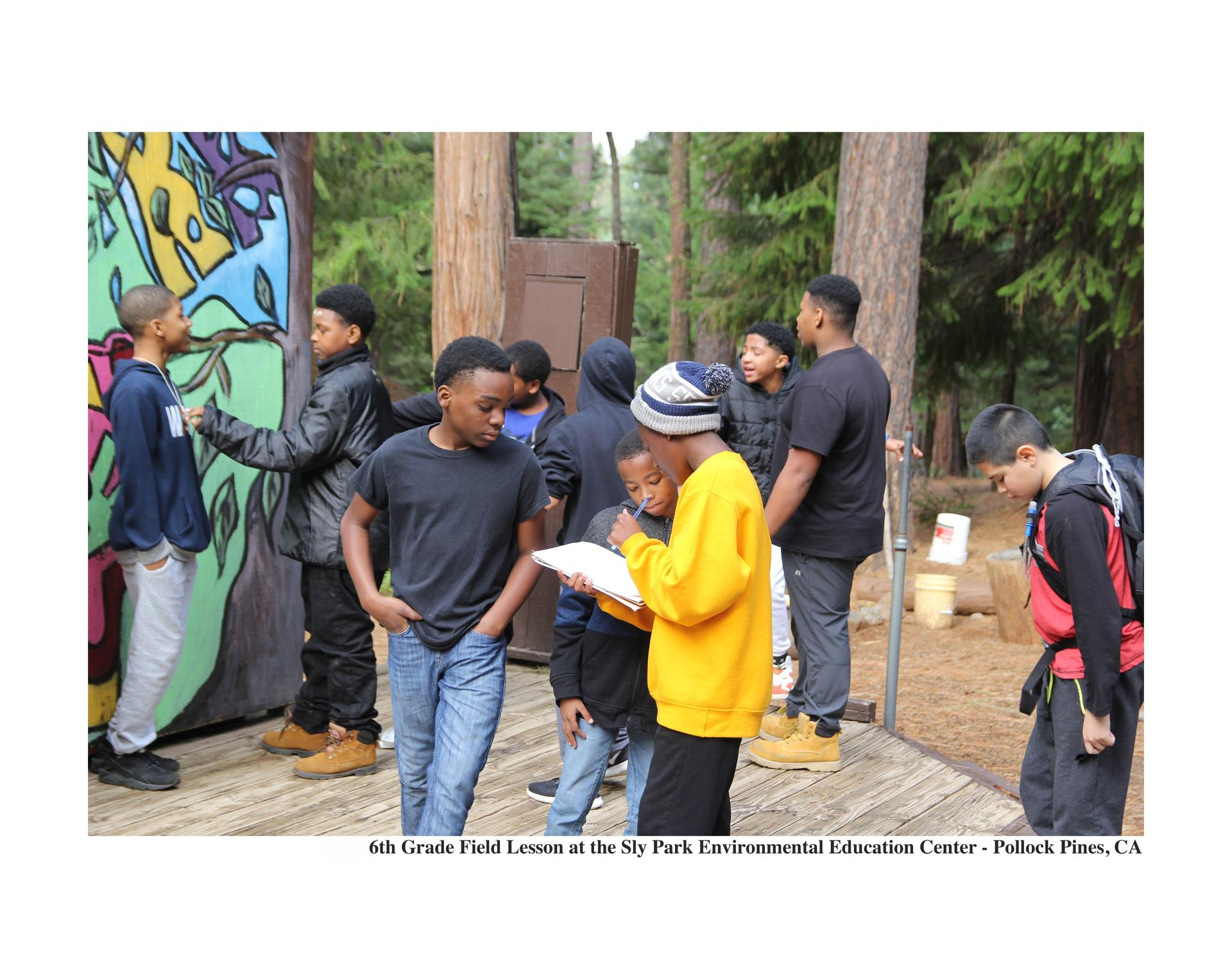 Scholars preparing for a stage presentation at Sly Park Environmental Learning Center