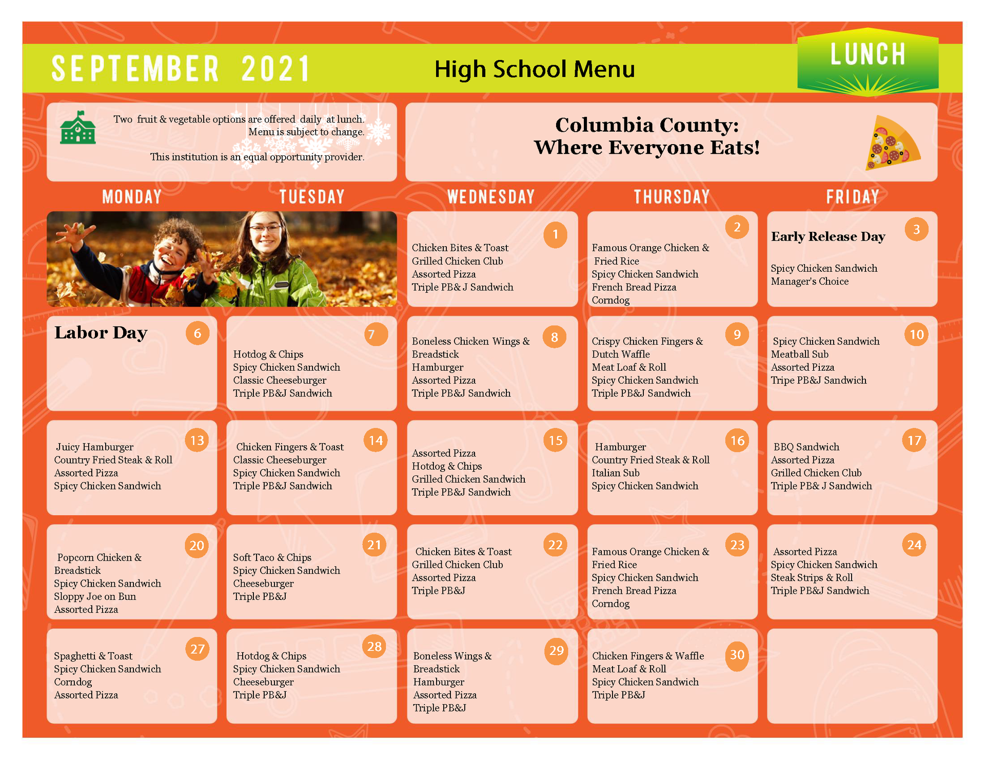 high school menu