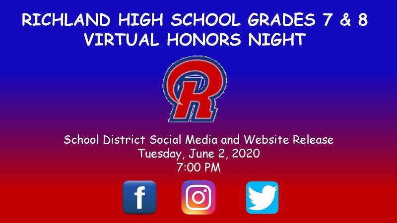 Richland Virtual Honors Ceremony for Grade 7 and 8 Students Featured Photo