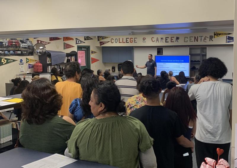 Parents attending orientation.