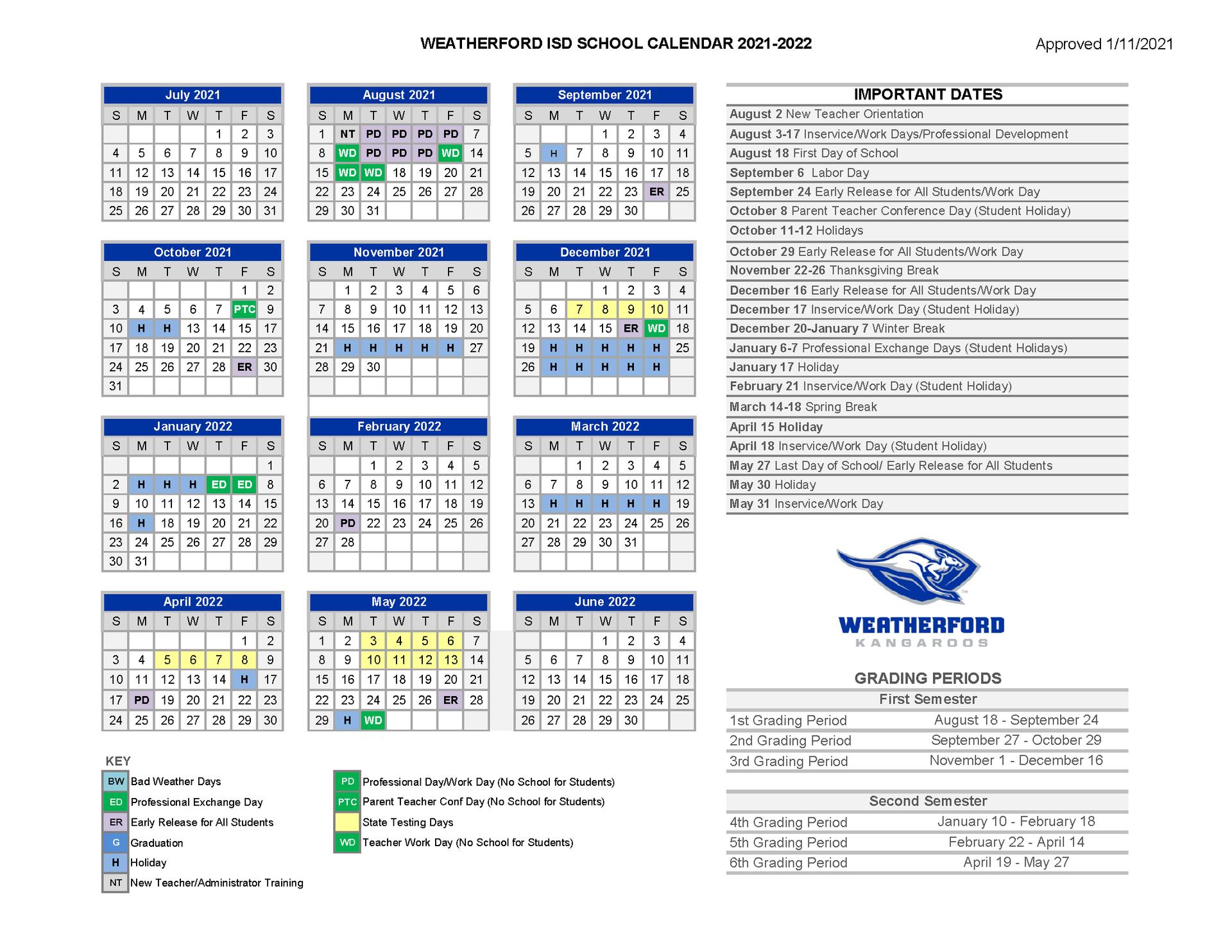 2021-2022 WISD School Calendar