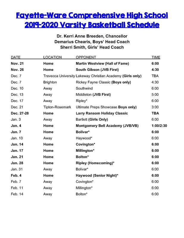Varsity Basketball Schedule Thumbnail Image