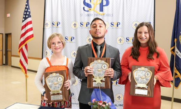 Congratulations to all students who were chosen to represent their school as Student of the Year, and congratulations to the 5th, 8th, and 12th-grade Students of the Year for St. Landry Parish School District. 5th Grade St. Landry Parish Student of the Year - Lilly J. Richard, Park Vista Elementary 8th Grade St. Landry Parish Student of the Year -Caroline L. Vienne, Eunice Jr. High 12th Grade St. Landry Parish Student of the Year and State Finalist - Ahraf Swati, Opelousas Senior High