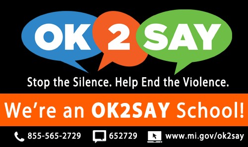OK2Say Logo: Submit a confidential tip; call 855-565-2729; text 652729