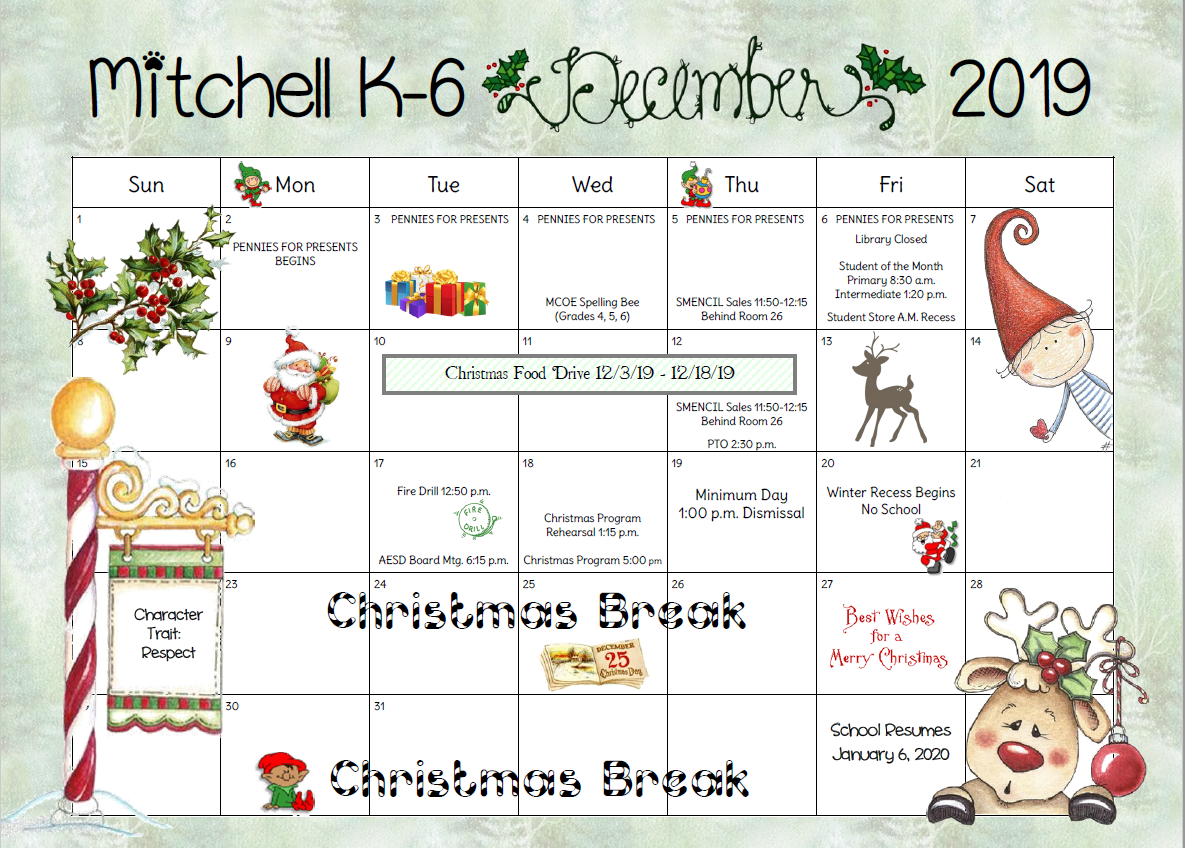 december calendar for parents