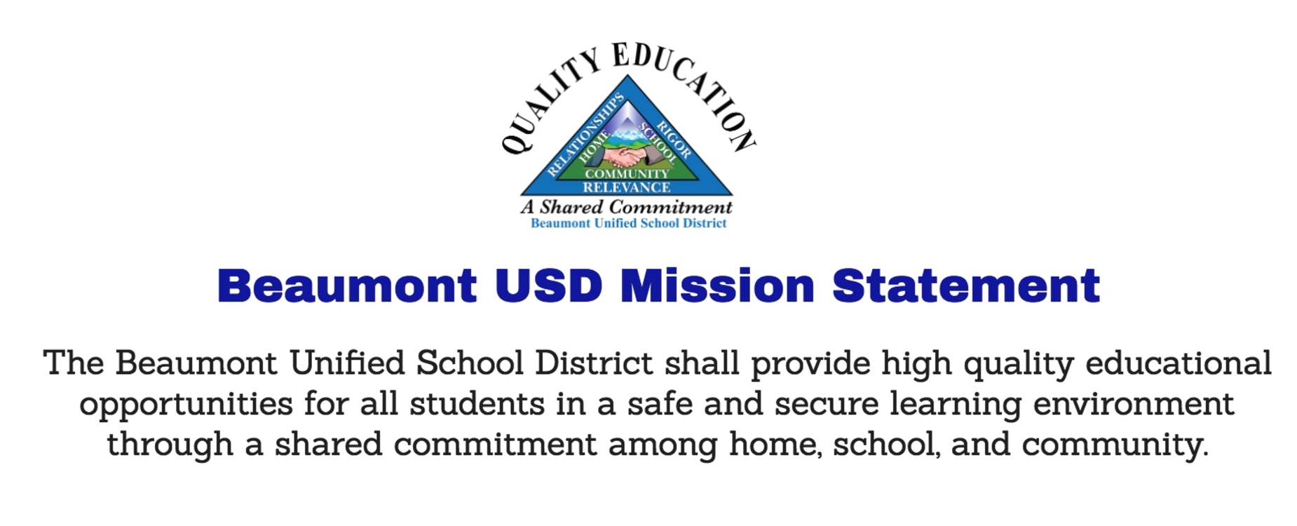 Beaumont USD Logo and Mission Statement