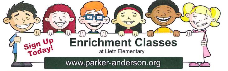 Six cartoon children holding Enrichment at Lietz sign