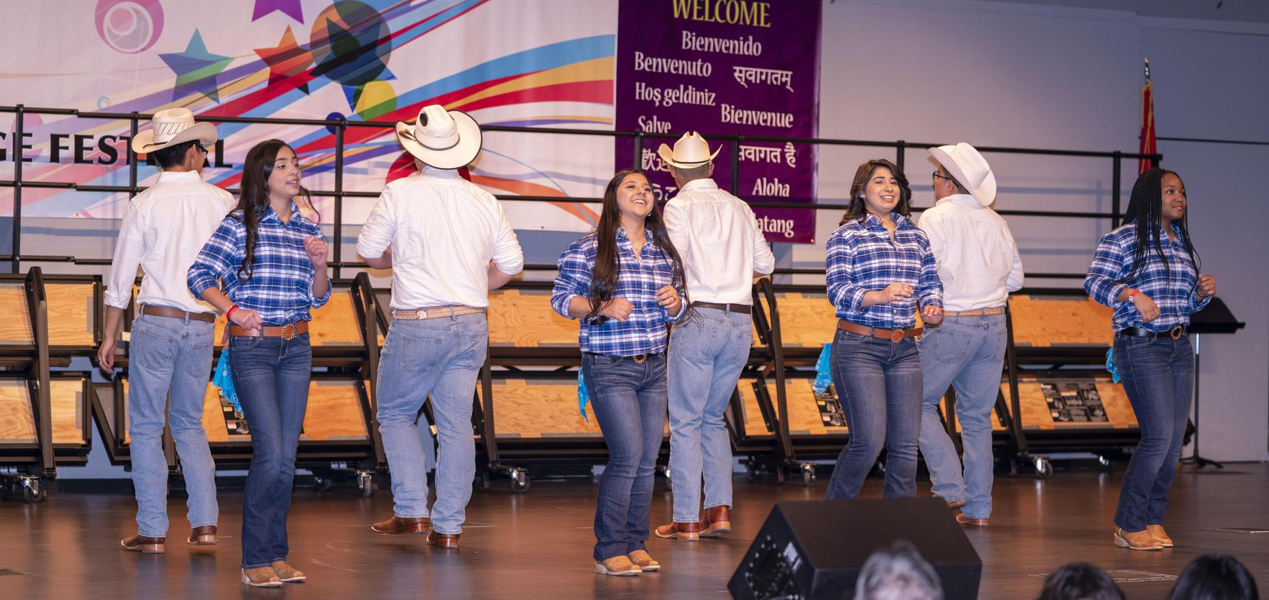 Photo of Hispanic folk dance by students