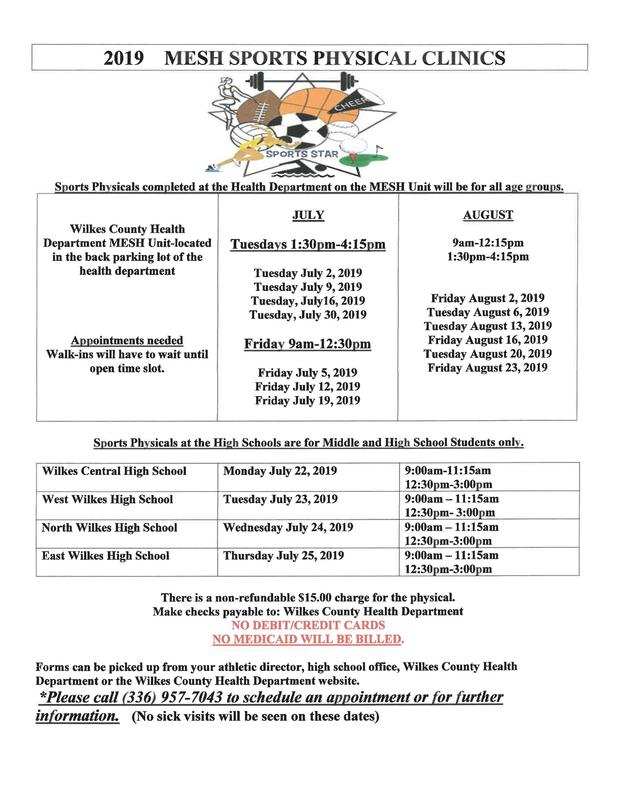 2019 Summer Sports Physicals