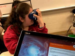 Students in Cherlyn Anderson's science class at B-L Middle School use Virtual Reality technology to learn about the circulatory system.