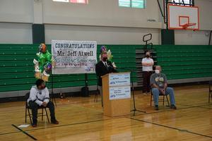 Superintendent Mark Byrd speaks at Mr. Atwell's celebration ceremony