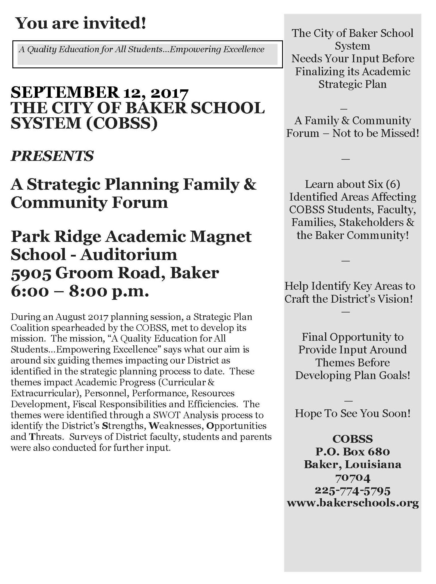 Photo of a public invitation to a forum on September 12, 2017, 6 p.m. at Park Ridge