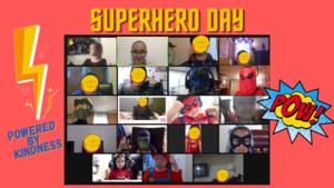 Zoom class wearing superhero costumes