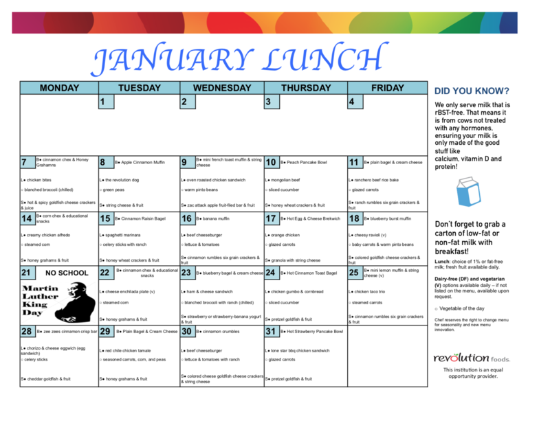 January Breakfast/Lunch Menu Featured Photo