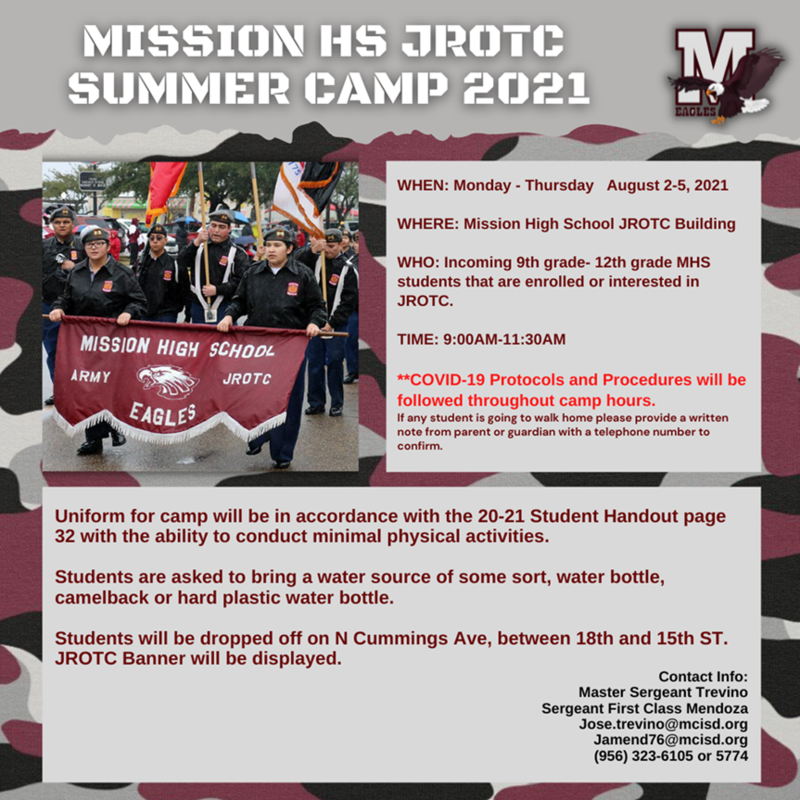 Mission High School JROTC Summer Camp 2021 Featured Photo