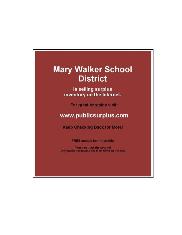 Mary Walker School District is selling surplus inventory on the Internet. Featured Photo