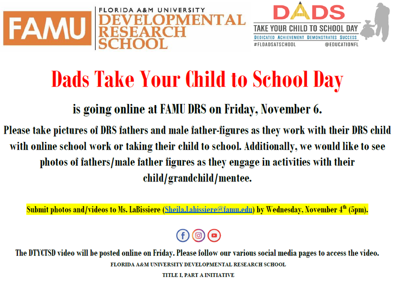 Dads Take Your Child to School Day - November 6, 2020 Featured Photo