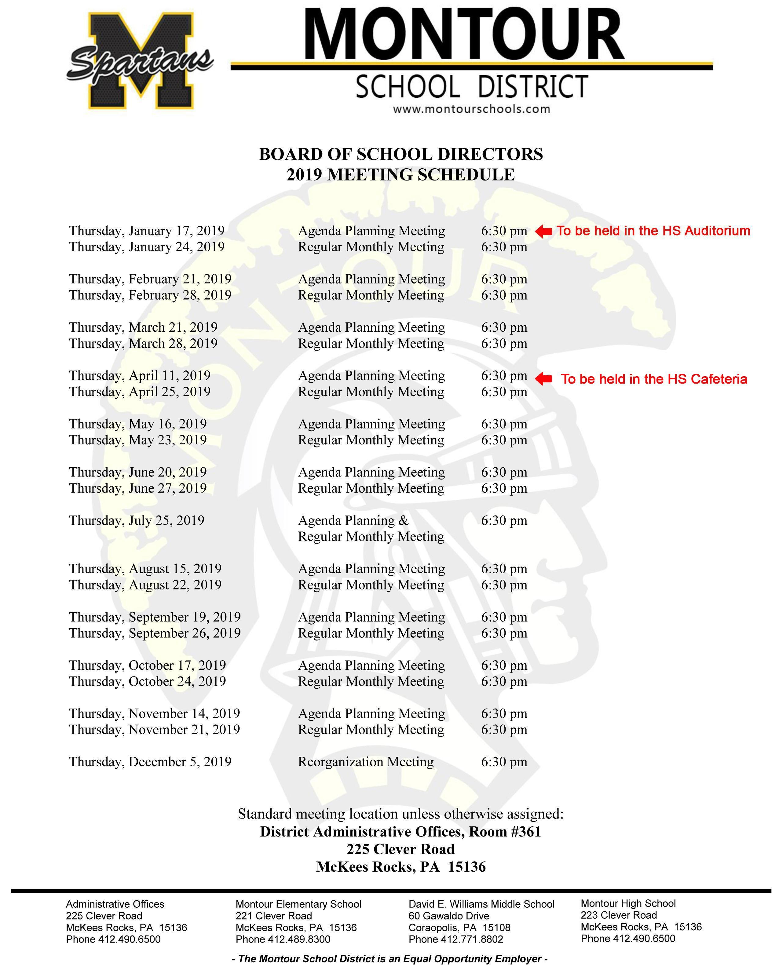 Meeting Schedule – School Board – Montour School District