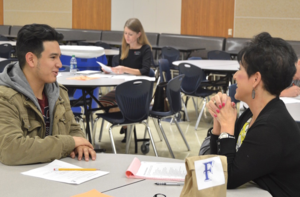 Student participating in mock interview