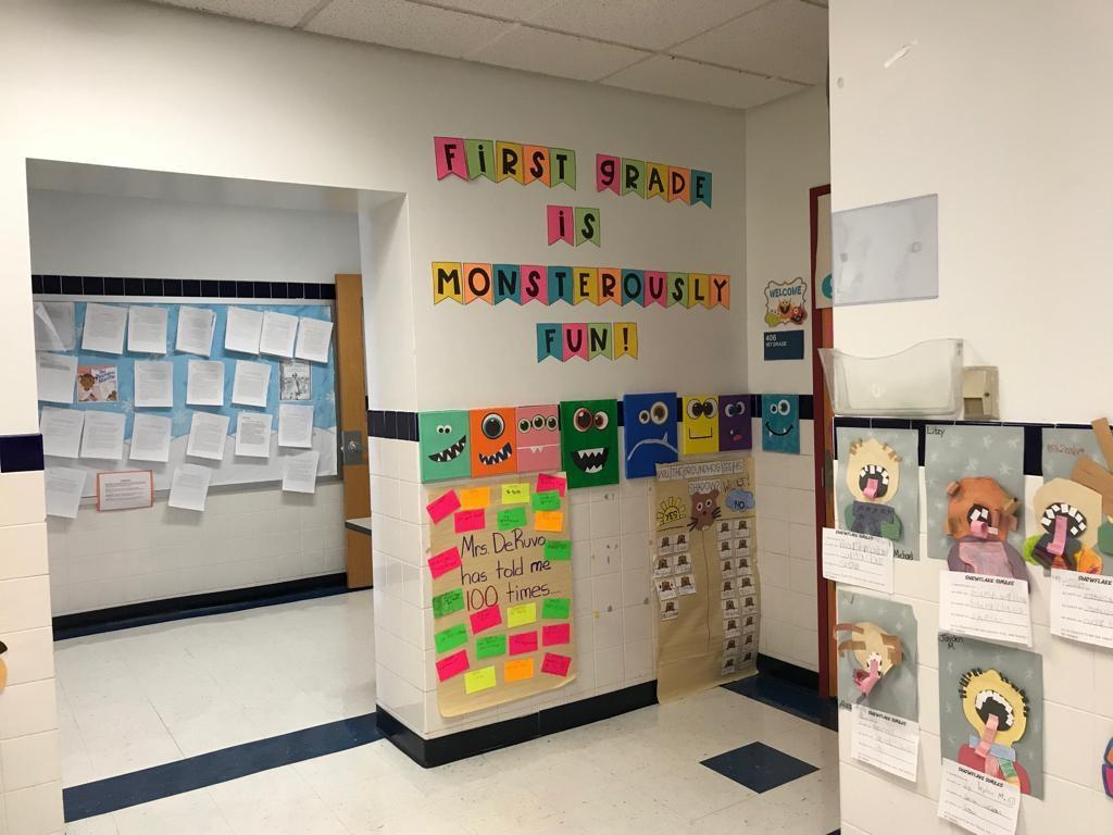 first grade room 406 hallway displays