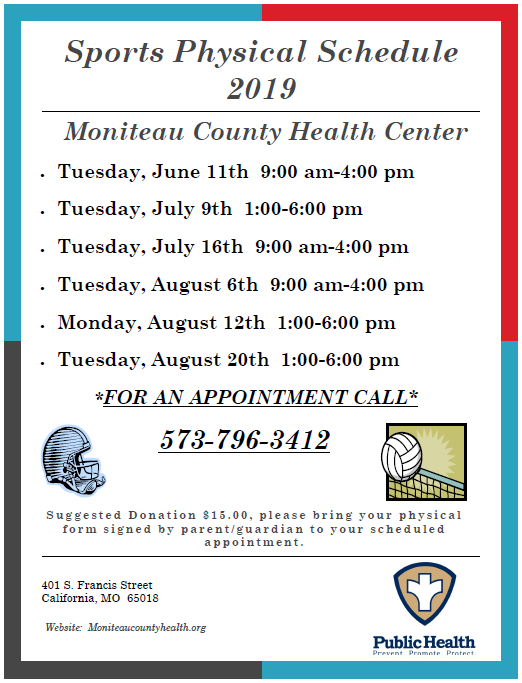Sports Physical Schedule with Moniteau County Health Center Thumbnail Image