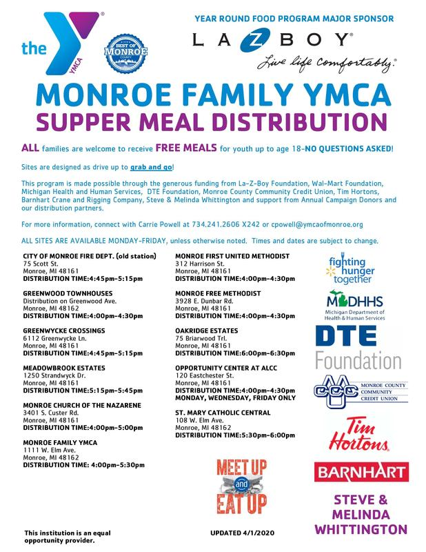 YMCA Food flyer with sites for pick up