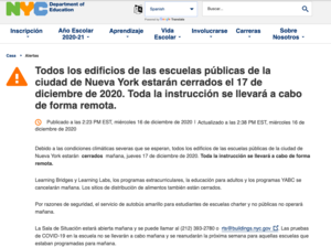 Announcement of School closure on DOE Site Spanish