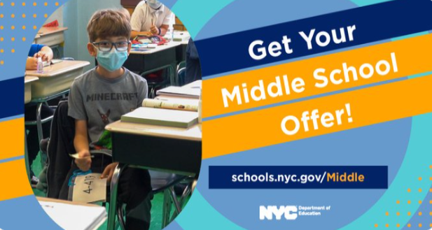 middle school offer image-masked student in classroom