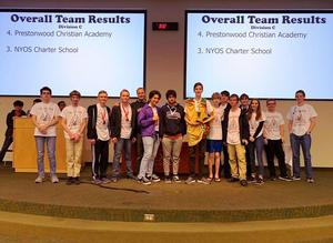 Photo of high school Science Olympiad students with their 3rd place award at the Regional Competition.