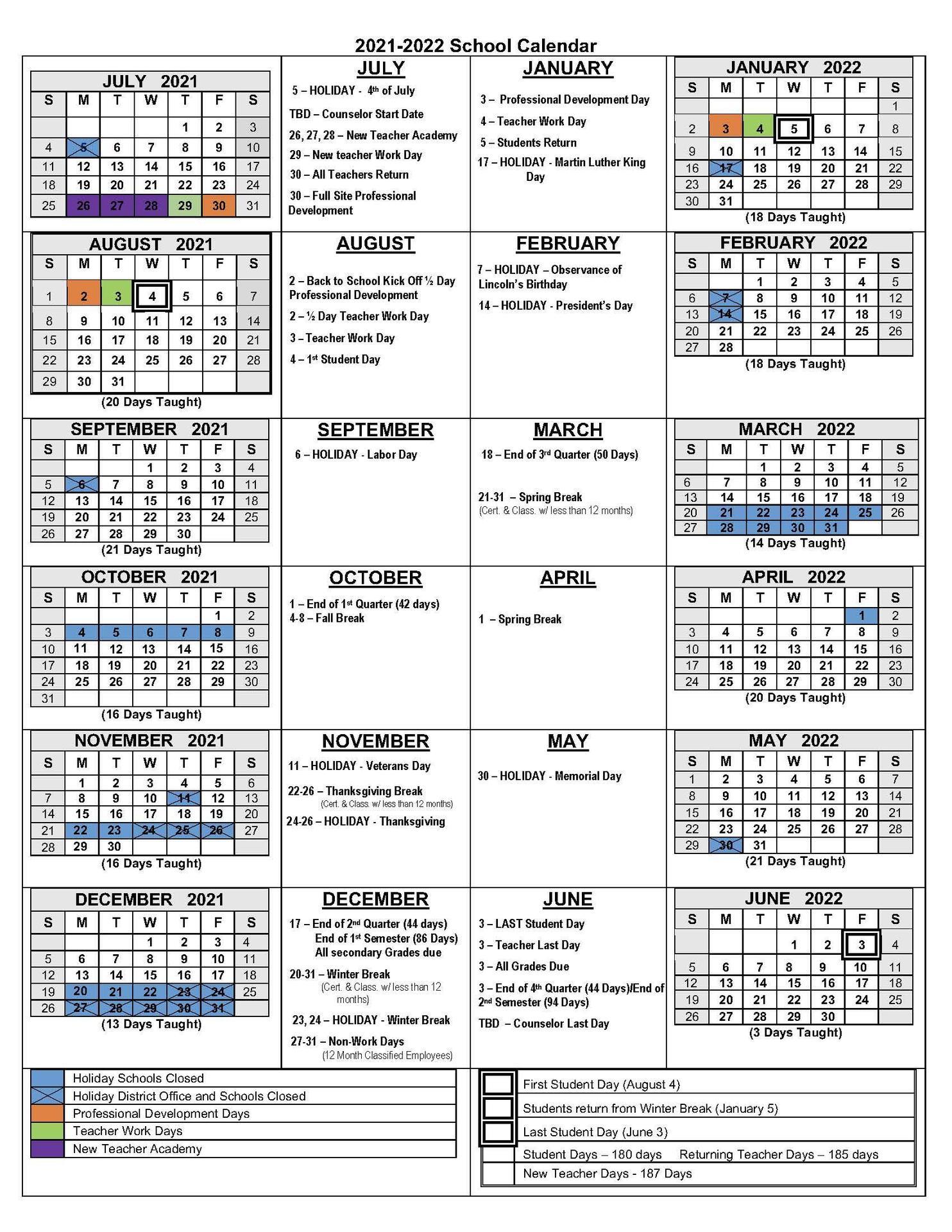2021 2022 School Calendar Academic Calendars Monterey Peninsula Unified School District