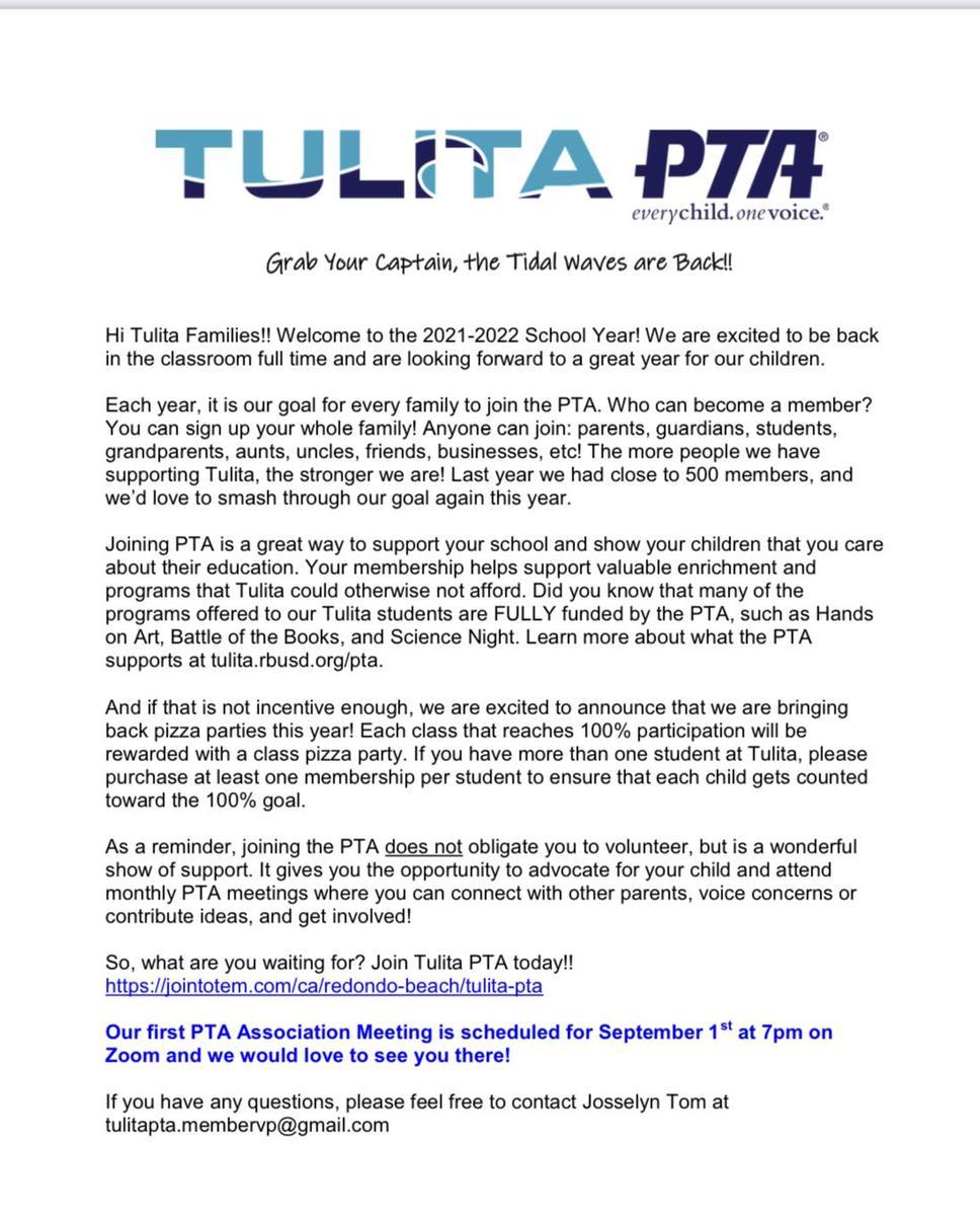 Join PTA letter