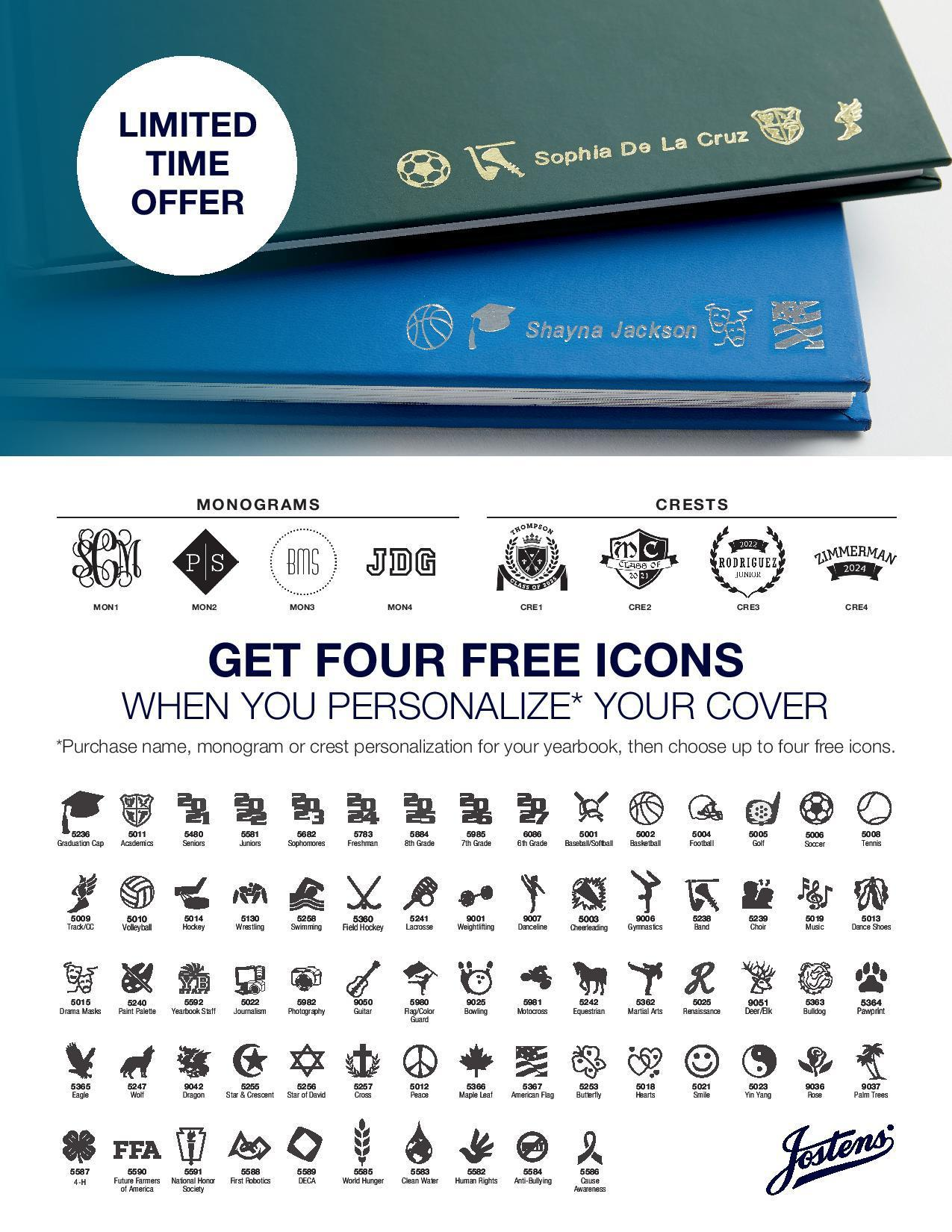 Flyer describing available logos and imprints for yearbook cover