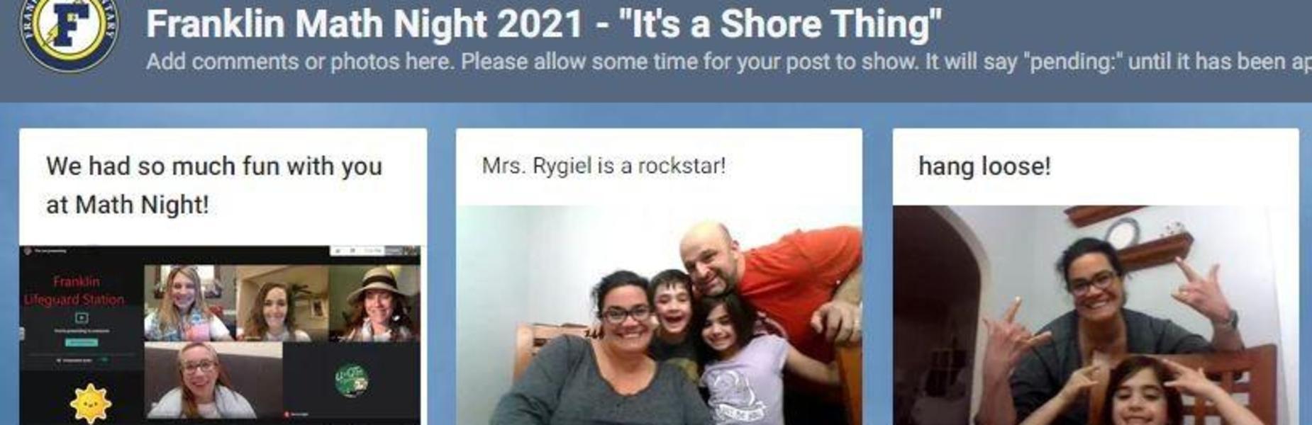 Screenshot of Franklin families taking part in virtual Math Night