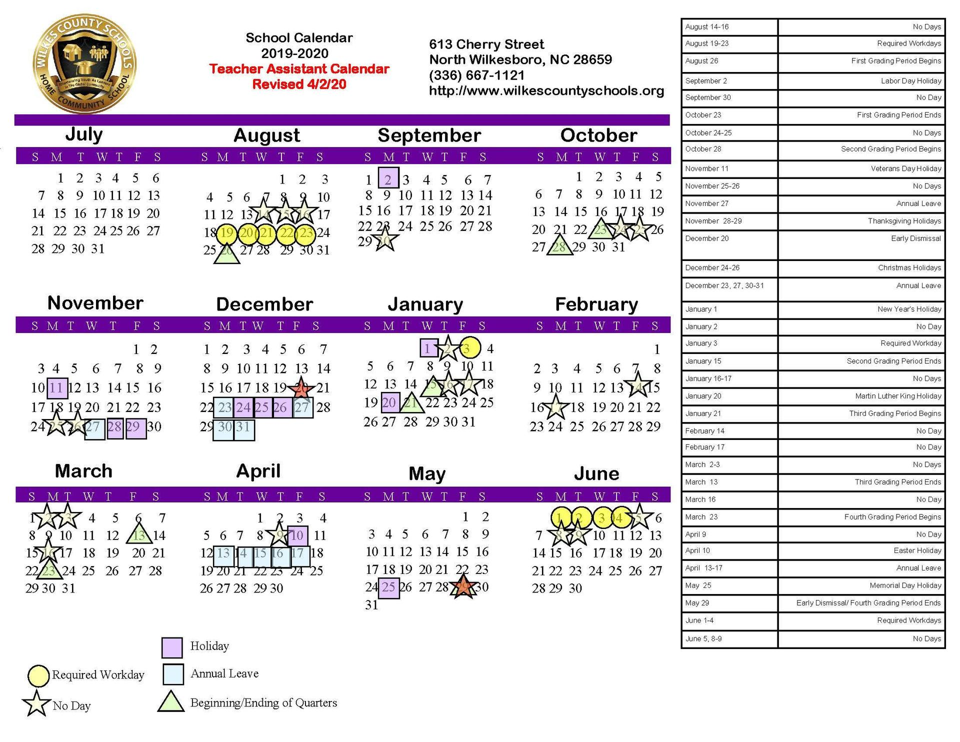 2019-2020 Board-Approved Teacher Assistant Calendar