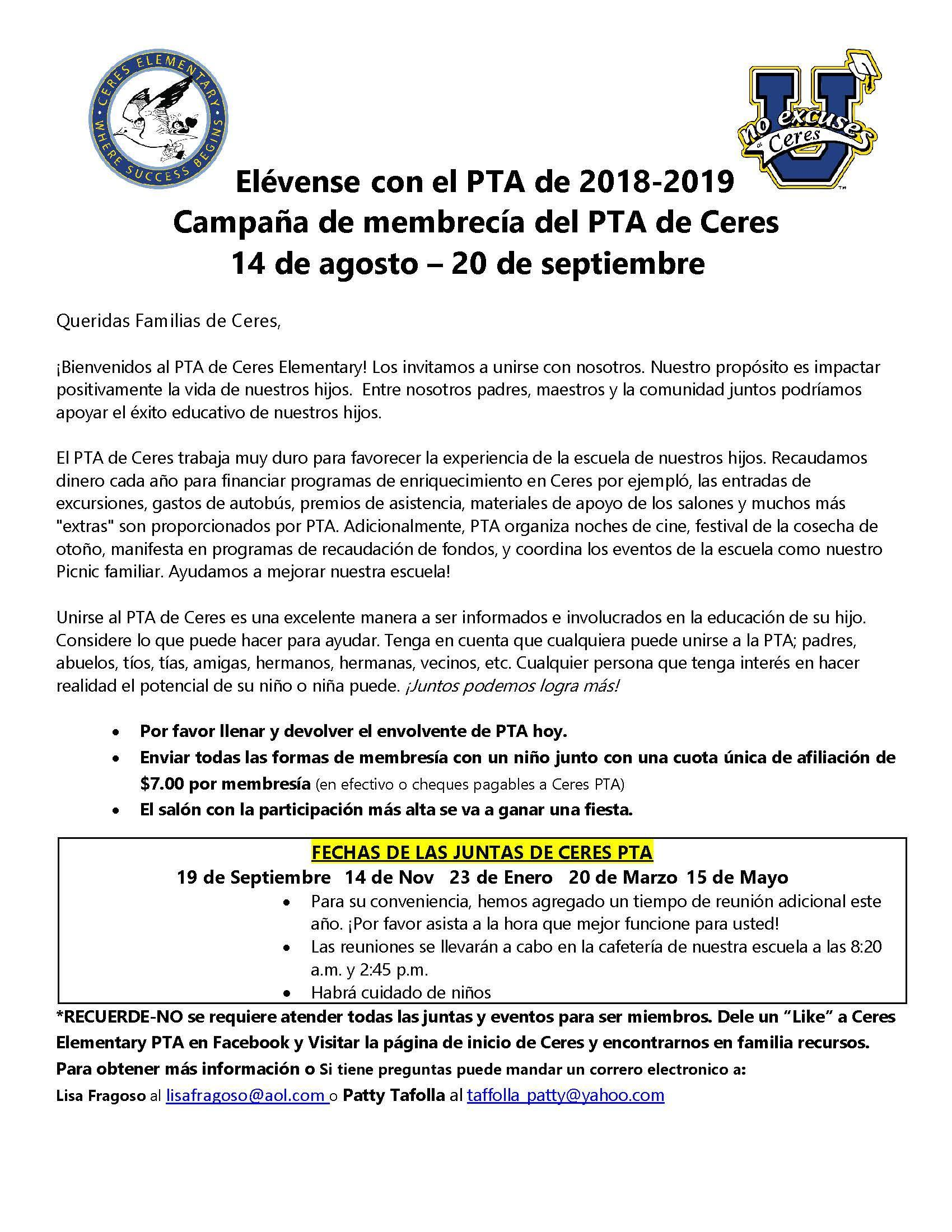 Letter for the Ceres PTA Membership Drive Spanish