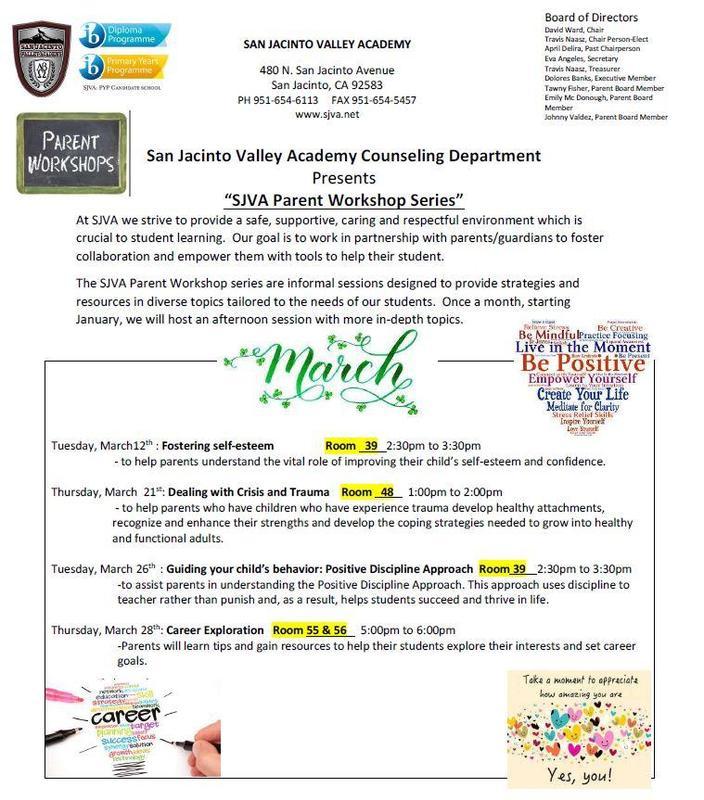 March SJVA Parent Workshop Series:  Talleres para padres del mes de marzo Featured Photo