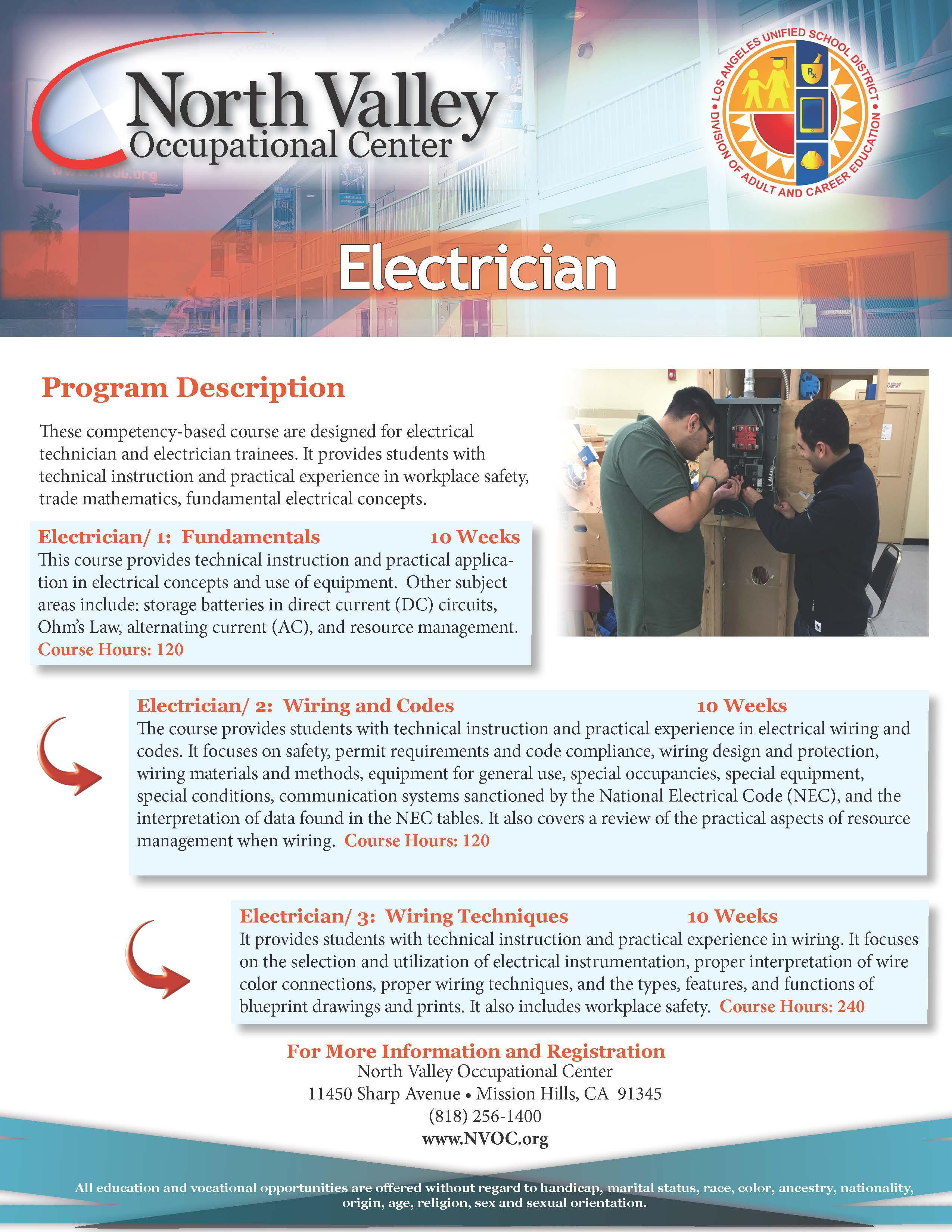 Electrician Industrial Programs North Valley Occupational Center Electrical Wiring Course Information Flyer Download