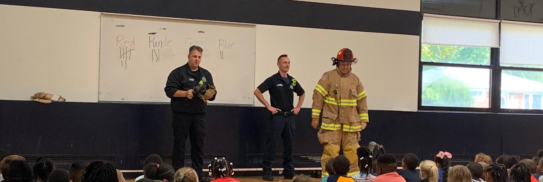 Mr. Skowronski dressed as a firefighter during our Fire Safety Assembly.