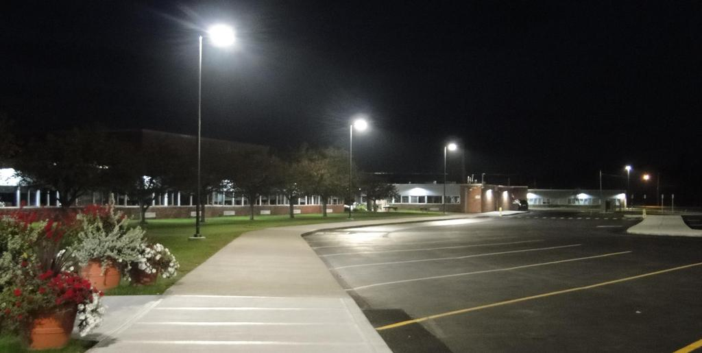 This October 10, 2018 snapshot features the new exterior power poles and LED lighting at main campus bus loop and parking areas.