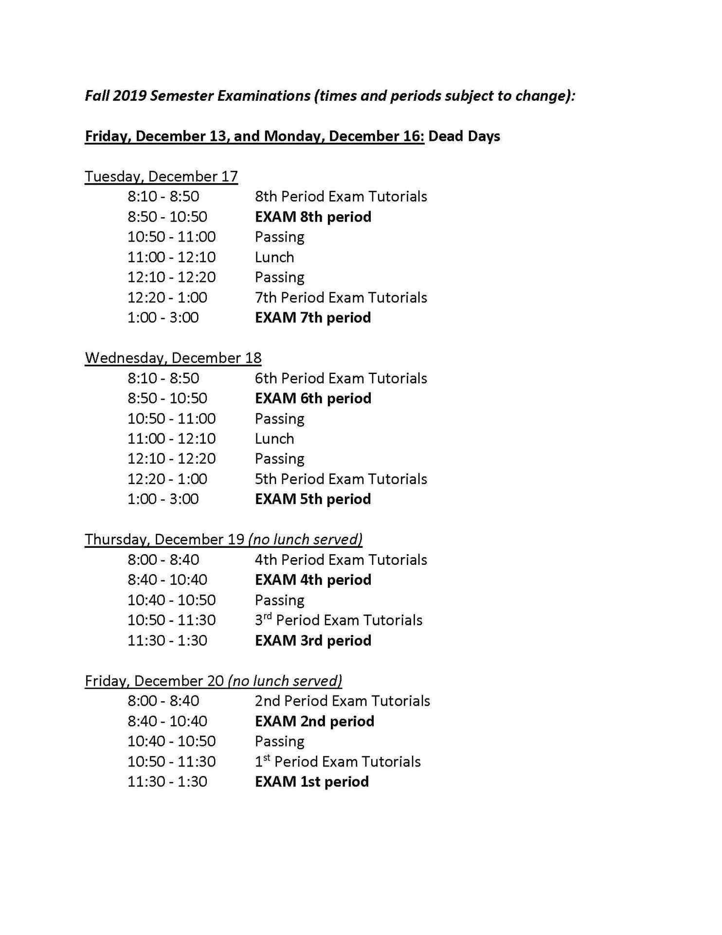 Fall 2019 Final Exam Schedule