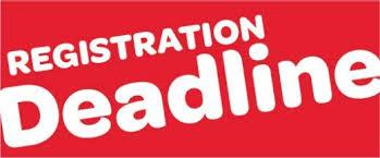 Registration Deadline - 2:00 pm - Friday - Aug 24, 2018 Thumbnail Image