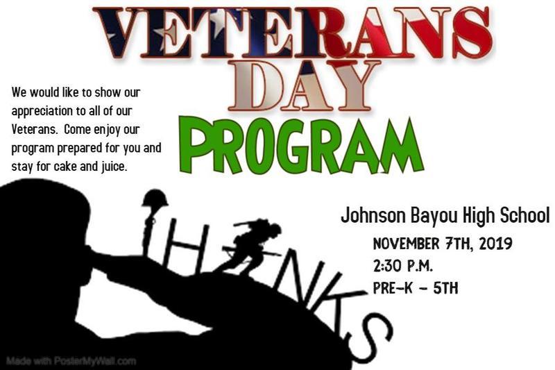 Veteran's Day Program Nov. 7th at 2:30