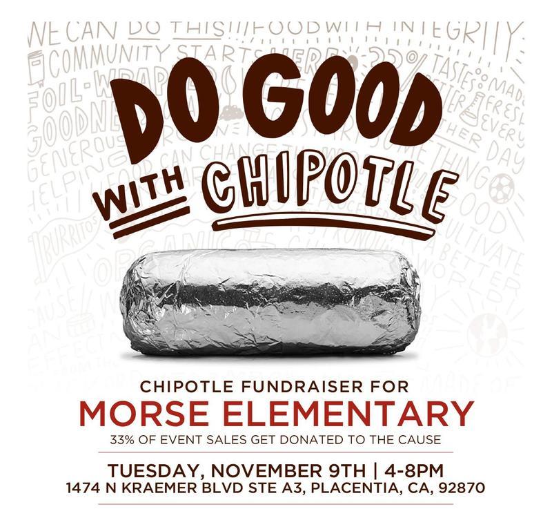 Chipotle Fundraiser for Morse Elementary on November 9 || 4:00 - 9:00 PM