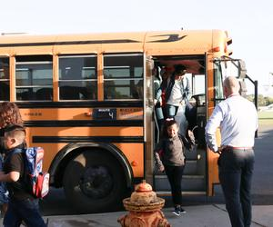 Photo of students on first day of school