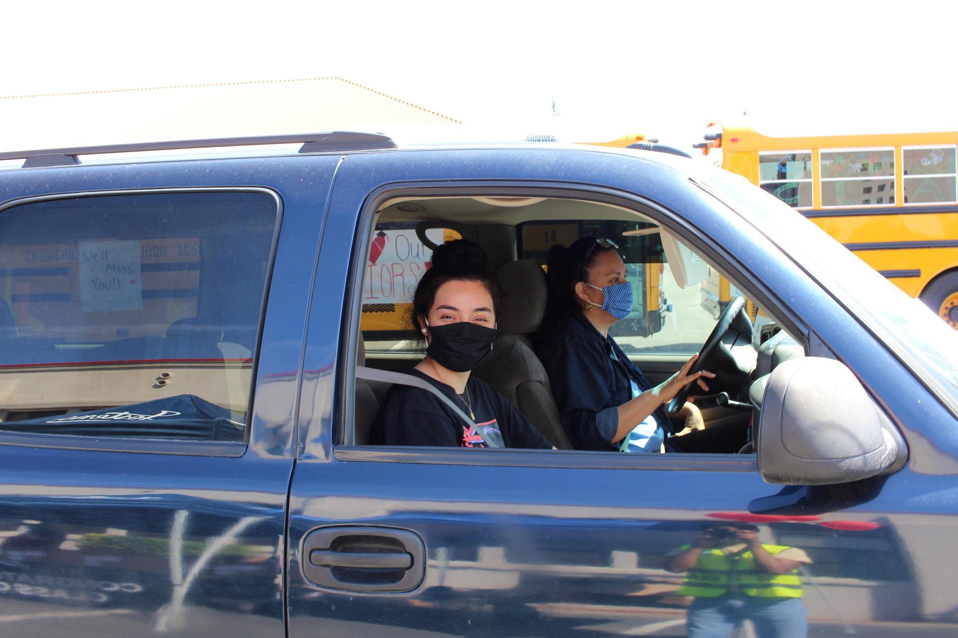 Sandra Chavez driving through