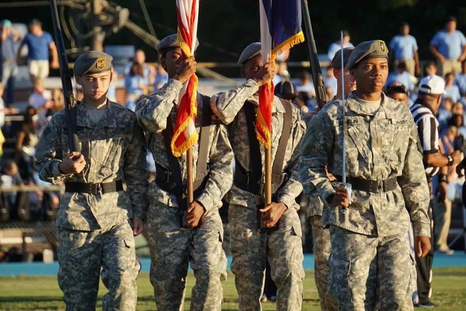 jrotc color guard presenting colors