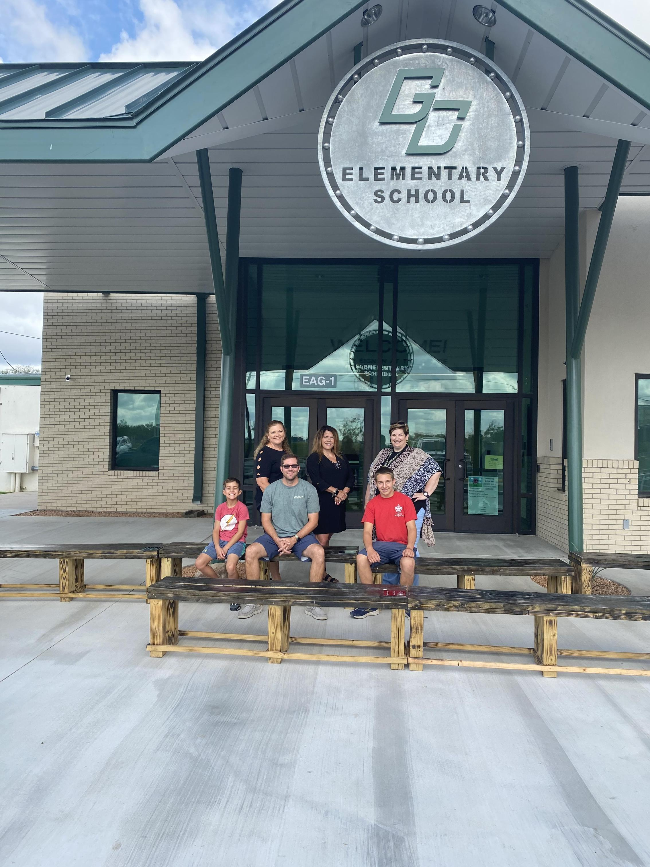Zachary R. Pyle - Eagle Scout Troop 374 - Donates Benches that he built for the Primary and Intermediate Campuses at GCISD!! Image