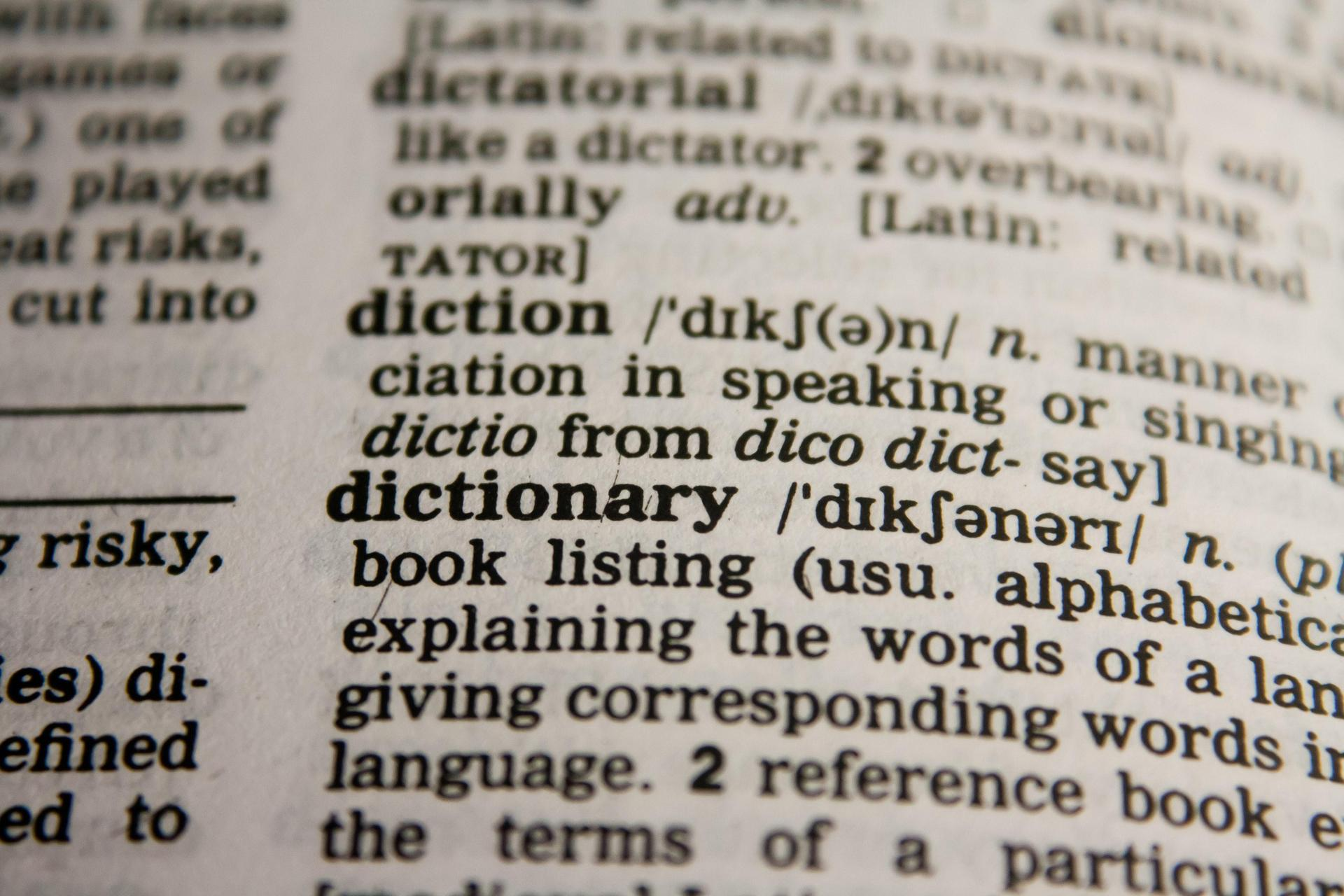 Photograph of a page in a dictionary